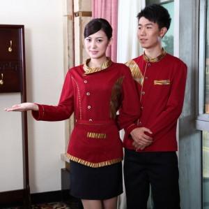 男女搭配酒店工作服秋冬款 茶楼餐厅服务员工装制服新款
