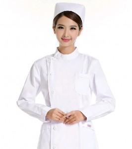 新款秋冬药店美容服医护加厚大码白粉色长袖重庆护士服医用